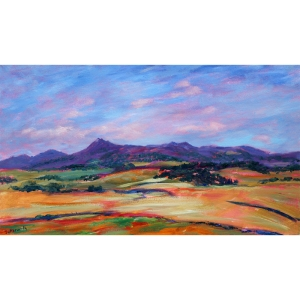 Bennachie in the evening sun painted in a free and colourful style.