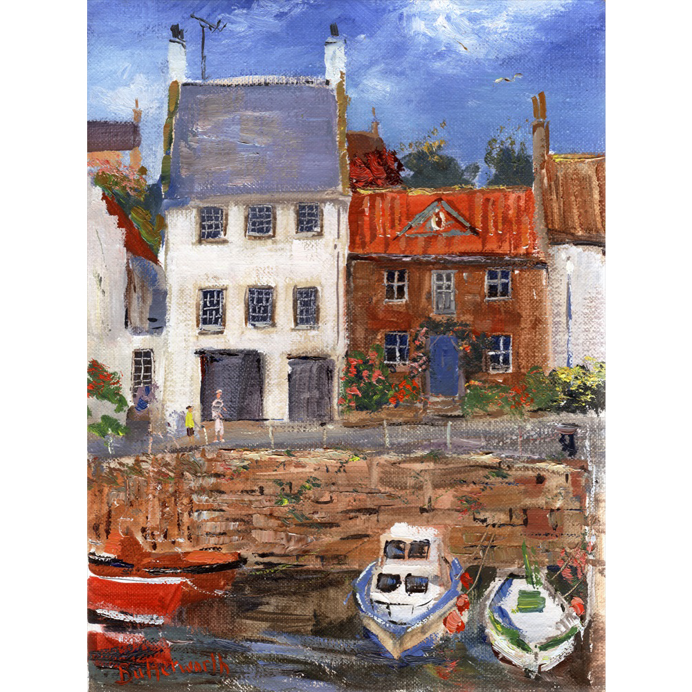 The popular fishing village of Crail captured on a bright summers day.