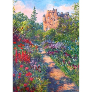One of Royal Deeside's best known National Trust Castles. The garden's splendour is captured in this colourful print with the pink castle in the background.