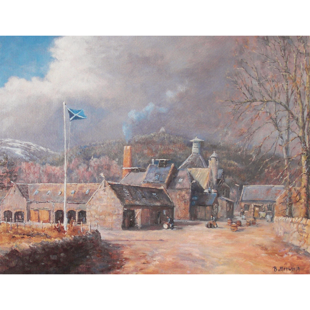 Royal Lochnagar Distillery at Crathie near Ballater on Royal Deeside. This print was commissioned by John Begg in the 1980's. Although it's unsigned and classed as an unlimited edition it is limited in number to the production run that was made at the time.